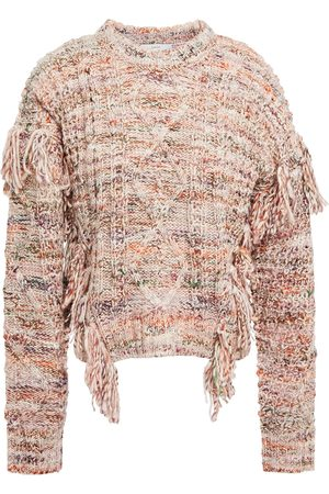 Joie Woman Fringed Marled Cable-knit Sweater Baby Size L