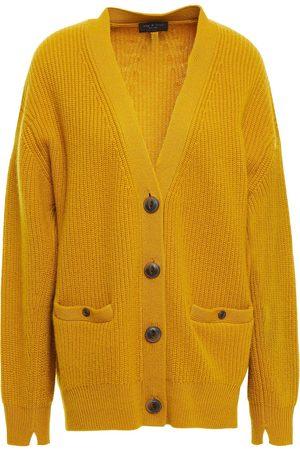 RAG&BONE Women Cardigans - Woman Ribbed Cashmere Cardigan Mustard Size L