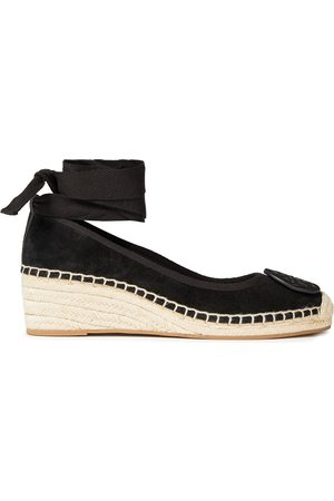 Tory Burch Women Wedges - Woman Minnie Lace-up Suede Wedge Espadrilles Size 10