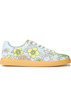 Tory Burch Woman Howell Floral-print Leather Sneakers Sky Size 10.5
