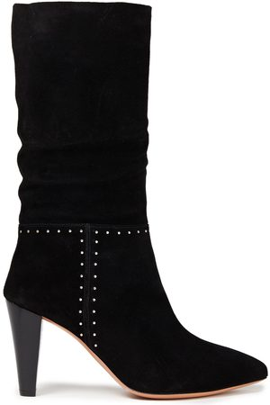 Bash Woman Clem Studded Gathered Suede Boots Size 36