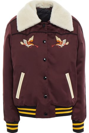 Coach Woman Shearling-lined Embroidered Shell Bomber Jacket Merlot Size 0