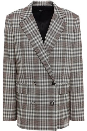 THEORY Women Summer Jackets - Woman Double-breasted Checked Wool-blend Blazer Size 0