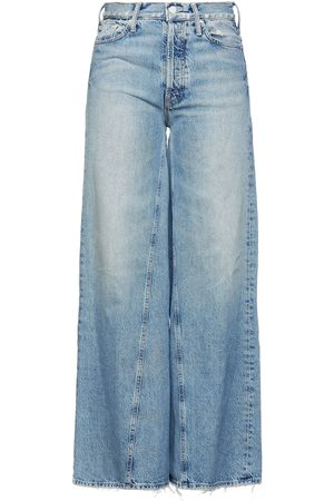 Mother Woman Distressed High-rise Wide-leg Jeans Mid Denim Size 24