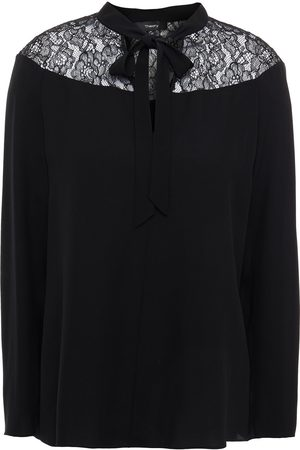 THEORY Woman Corded Lace-paneled Silk Crepe De Chine Blouse Size L
