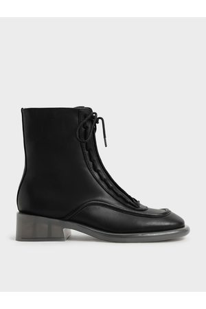 CHARLES & KEITH Tegan Leather Lace-Up Boots