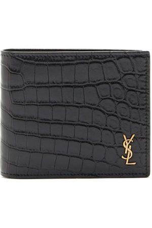 Saint Laurent Men Purses & Wallets - Ysl-plaque Crocodile-effect Leather Bi-fold Wallet - Mens