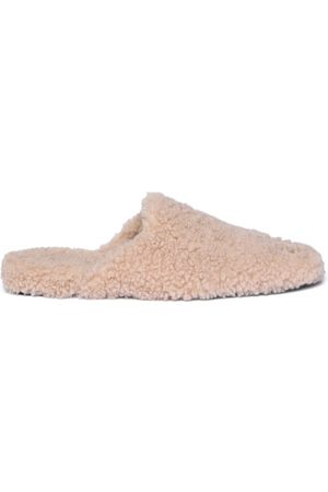 Balenciaga Women Loafers - Cosy Bb-plaque Backless Shearling Loafers - Womens