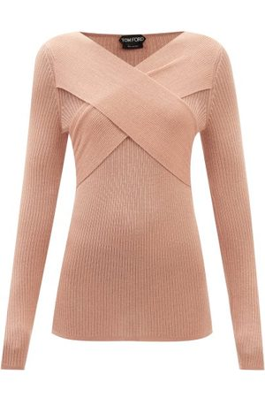 Tom Ford Crossover-neck Ribbed Cashmere-blend Sweater - Womens