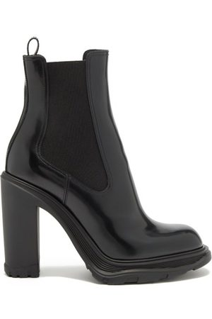 Alexander McQueen Women Heeled Boots - Tread Heeled Patent-leather Chelsea Boots - Womens