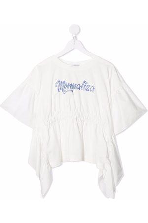 MONNALISA Logo-print ruffled cotton top