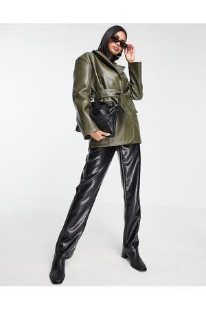 ASOS Faux leather belted grandad jacket in olive