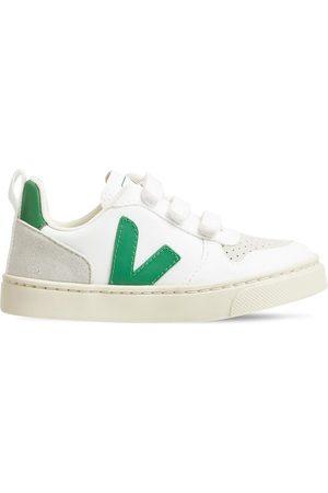 Veja V-10 Cotton & Suede Strap Sneakers