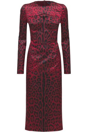 Dolce & Gabbana Stretch Satin Printed Midi Dress