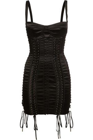 Dolce & Gabbana Stretch Satin Lace-up Mini Dress