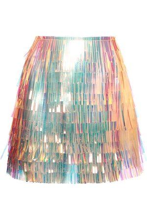 Dolce & Gabbana Vynil Multicolor Fringe Mini Skirt