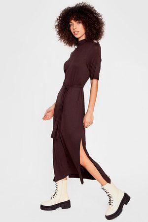 NASTY GAL Womens Belted Short Sleeve Midi Dress