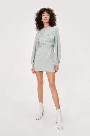 NASTY GAL Women Bodycon Dresses - Womens Twist Front Puff Sleeve Mini Dress