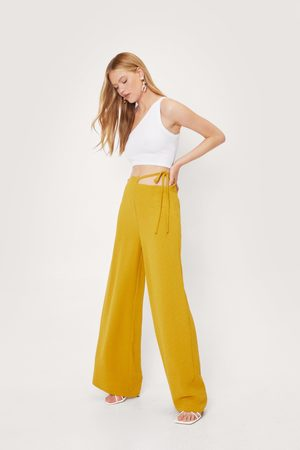 NASTY GAL Womens Strappy Tie Side Woven Wide Leg trousers