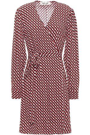 Diane von Furstenberg Women Printed Dresses - Woman Printed Crepe Mini Wrap Dress Size L