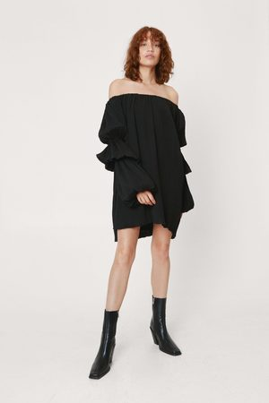 NASTY GAL Womens Pleated Puff Sleeve Bardot Mini Dress