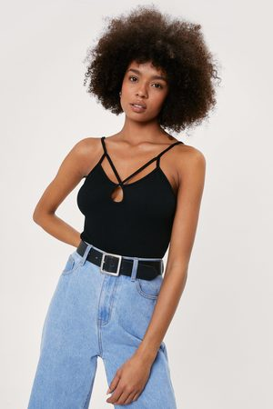 NASTY GAL Womens Recycled Double Strappy Cut Out Bodysuit
