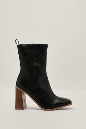 NASTY GAL Womens Faux Leather Wooden Heeled Ankle Boots