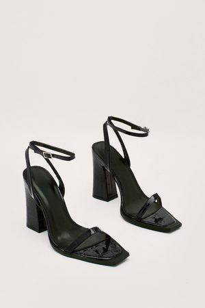 NASTY GAL Womens Patent Croc Square Toe Two Part Block Heels