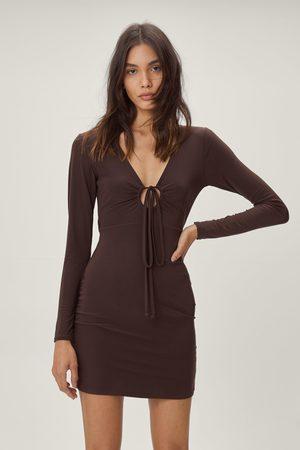 NASTY GAL Womens Double Slinky Tie Front Bodycon Mini Dress