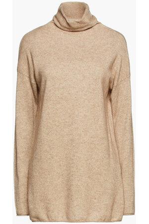 Vince Woman Mélange Wool And Cashmere-blend Turtleneck Sweater Neutral Size L