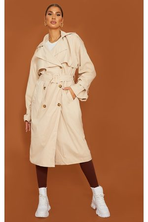 PRETTYLITTLETHING Women Trench Coats - Tall Stone Oversized Belted Midi Trench