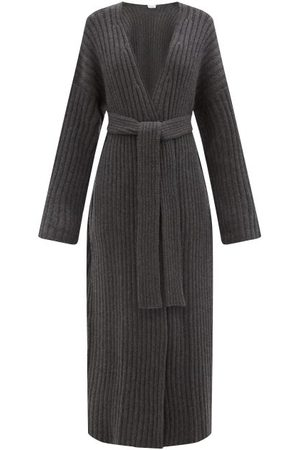 Raey Belted Ribbed-knit Cashmere Maxi Cardigan - Womens - Charcoal