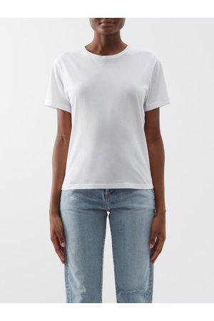Saint Laurent Raw-edge Cotton-jersey T-shirt - Womens - Ivory