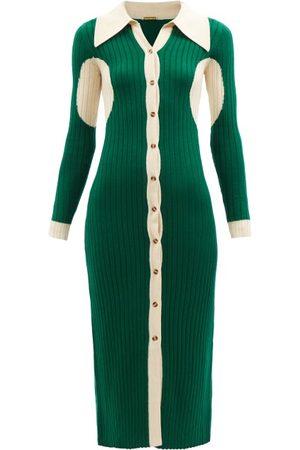 DODO BAR OR Ian Point-collar Ribbed-knit Midi Dress - Womens