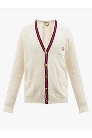 Gucci GG-embroidered Web-stripe Cotton Cardigan - Mens