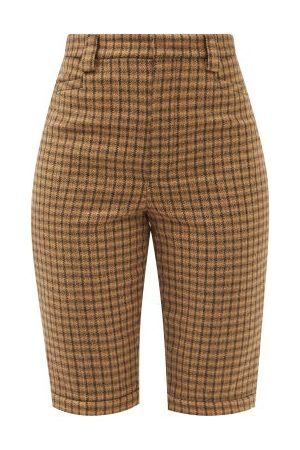 Saint Laurent Buttoned-cuffs Checked Wool-twill Shorts - Womens - Camel