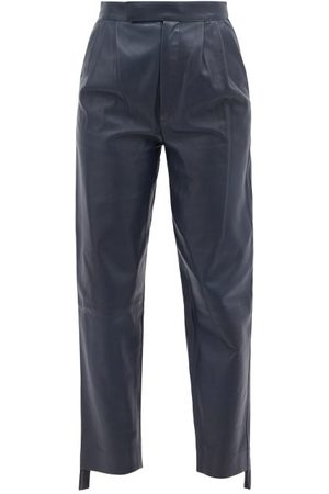 DODO BAR OR Jeff High-rise Pleated Leather Trousers - Womens - Navy