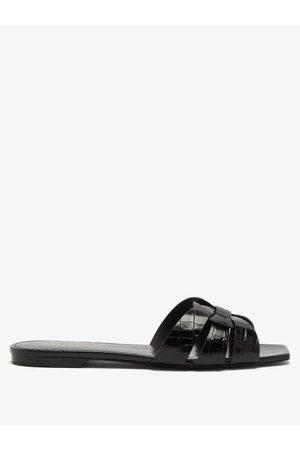Saint Laurent Tribute Croc-effect Leather Sandals - Womens