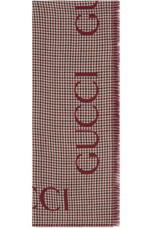 Gucci Men Scarves - Check wool stole with script