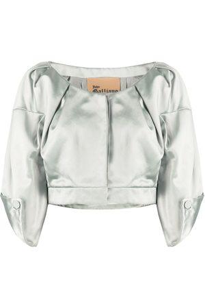 John Galliano Women Crop Tops - 1990s three-quarter sleeves cropped top