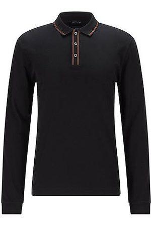 HUGO BOSS Stripe-trim polo shirt in mercerised Italian cotton