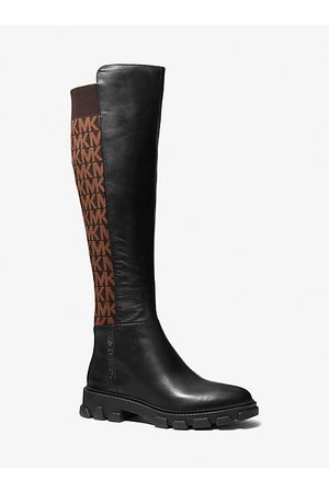 Michael Kors Women High Leg Boots - MK Ridley Leather and Logo Jacquard Knee Boot - Blk/ - Michael Kors