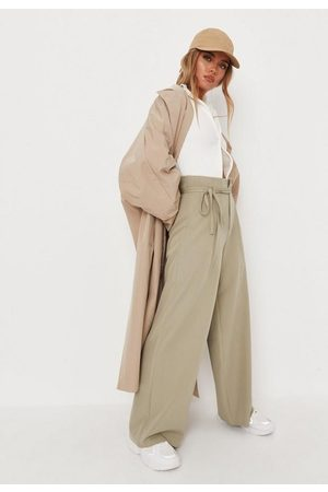 Missguided Petite Khaki Tailored High Waisted Puddle Trousers, Kahki