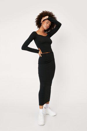 NASTY GAL Womens Ribbed Square Long Sleeve and Midi Skirt Set