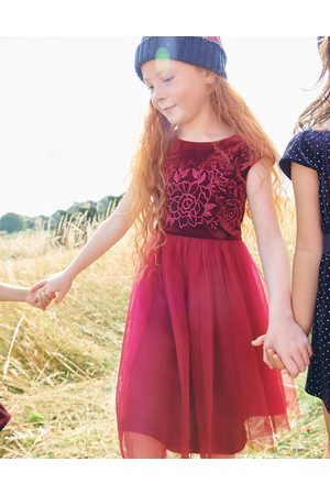 Monsoon Girls Printed Dresses - (BURGUNDY) Floral Embroidered Velvet Dress , in Size: 8 Years