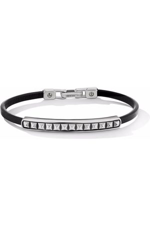 David Yurman Pyramid 6.5mm sterling and leather bracelet