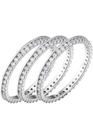 The Love Silver Collection Sterling 3Pk Cubic Zirconia Stacking Rings