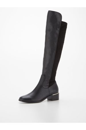 Very Wide Fit Low Heel Stretch Back Over The Knee Boot
