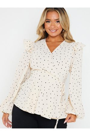 In The Style Jac Jossa Polka Dot Print Wrap Top With Frill Shoulder