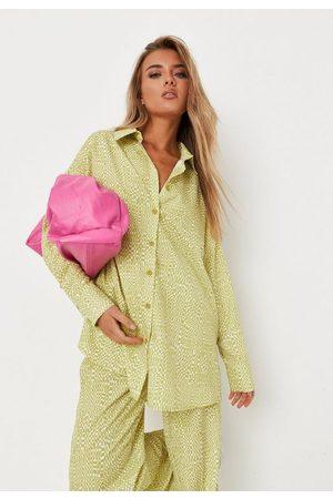 Missguided Women Shirts - Lemon Co Ord Geometric Print Shirt